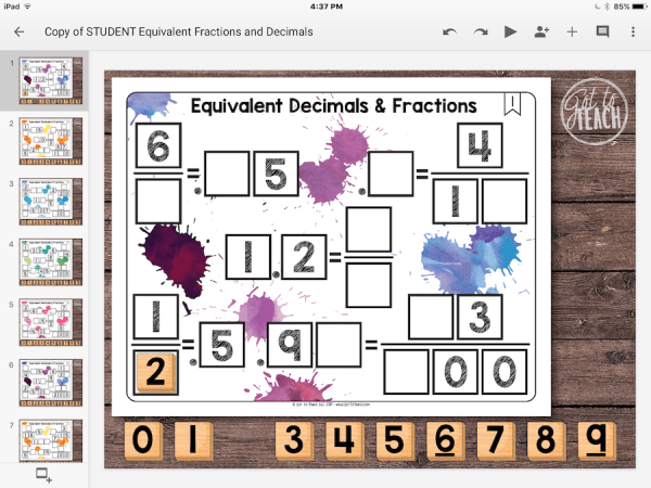 Equivalent Decimals Fractions