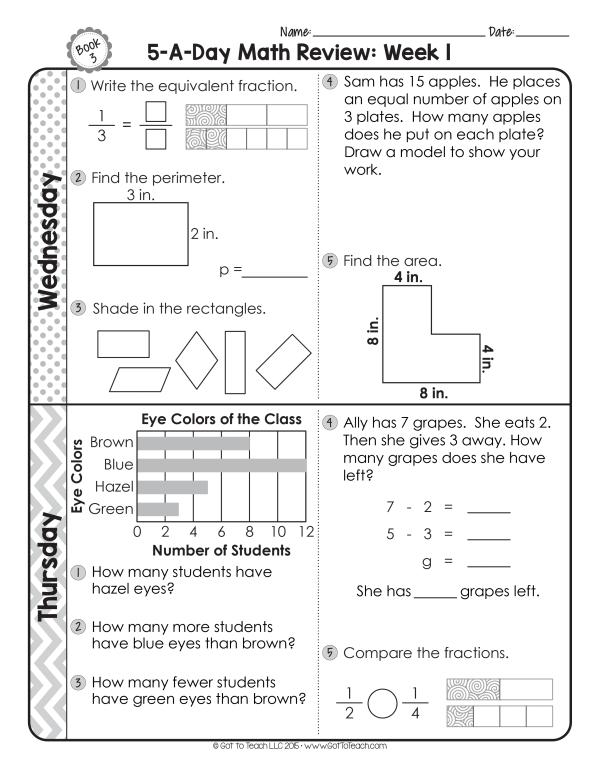 third grade daily math spiral review