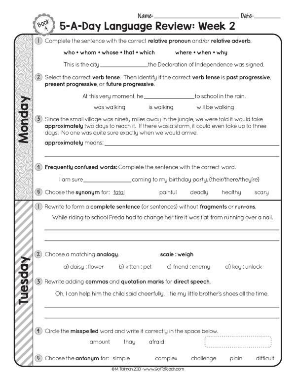 fourth grade grammar spiral review