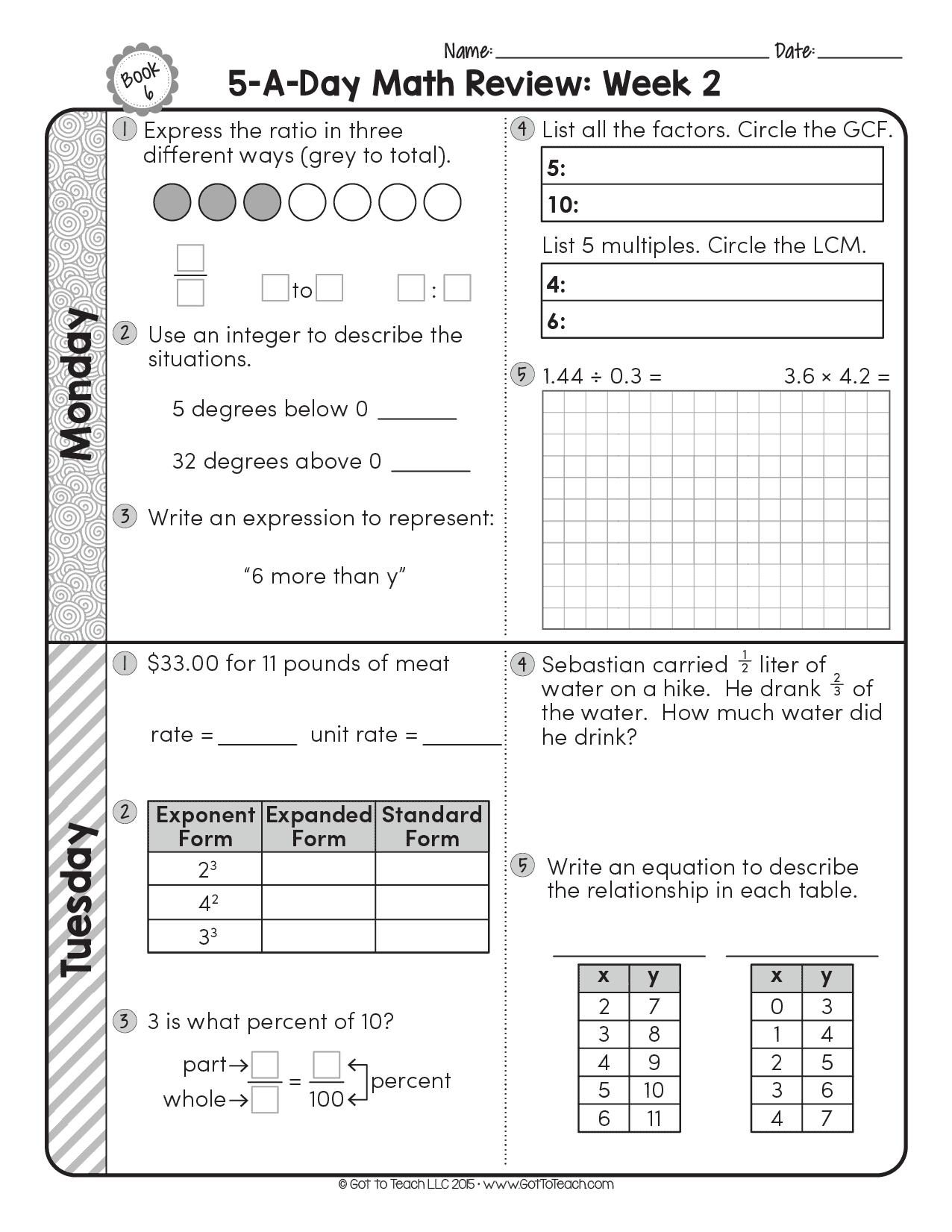 FREE 6th Grade Daily Math Spiral Review • Teacher Thrive