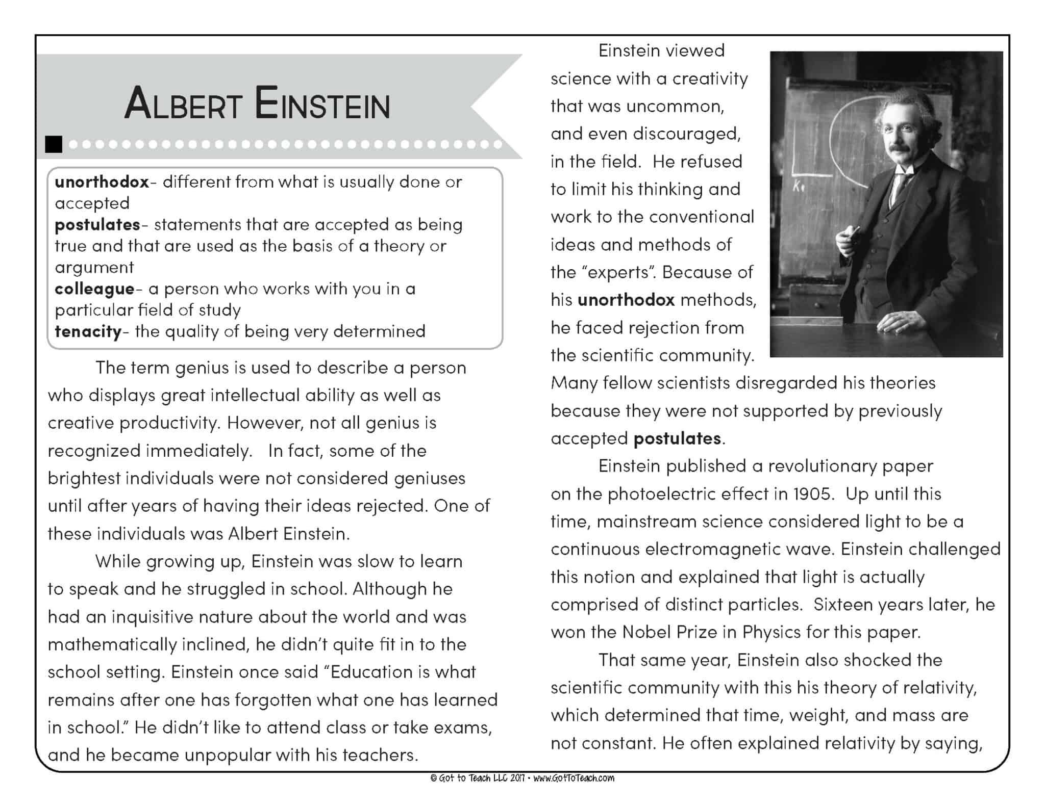 Close Reading And Fluency Practice Albert Einstein