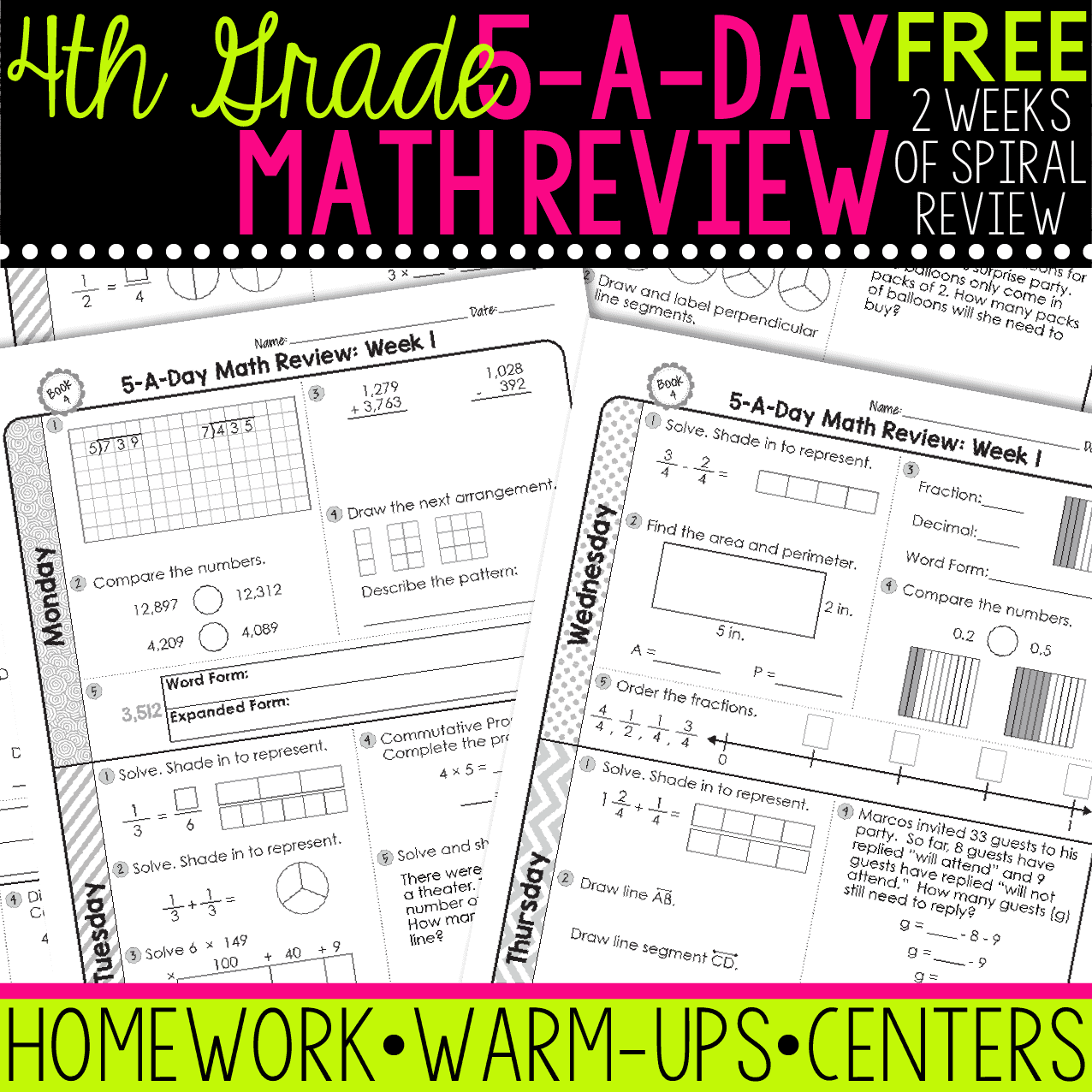 Free 4th Grade Daily Math Spiral Review Teacher Thrive