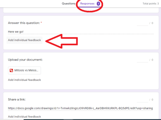 Google Forms to make Lessons Feedback