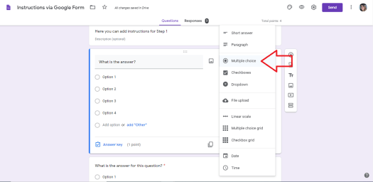 Google Forms to make Lessons - make a question