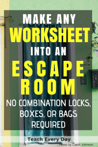 Turn any worksheet into an escape room in the classroom.