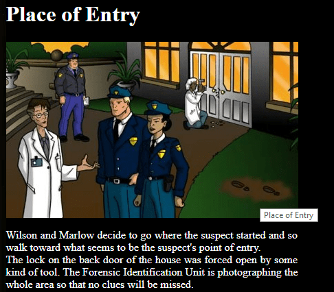 Free online forensics activities - students move through a crime scene finding and learning about different types of evidence