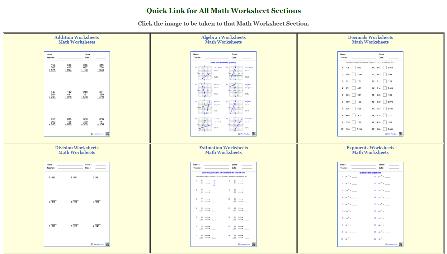 Math Aids Worksheets