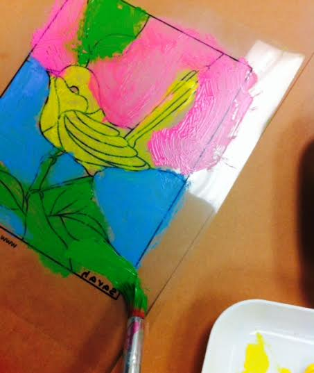 Last year we created stained glass windows out of acrylic paper. Looking at this image again, I wonder: Why did this student choose to paint this bird yellow? Did he or she see a yellow bird in nature? This would lead to a great opportunity for meaningful connections.