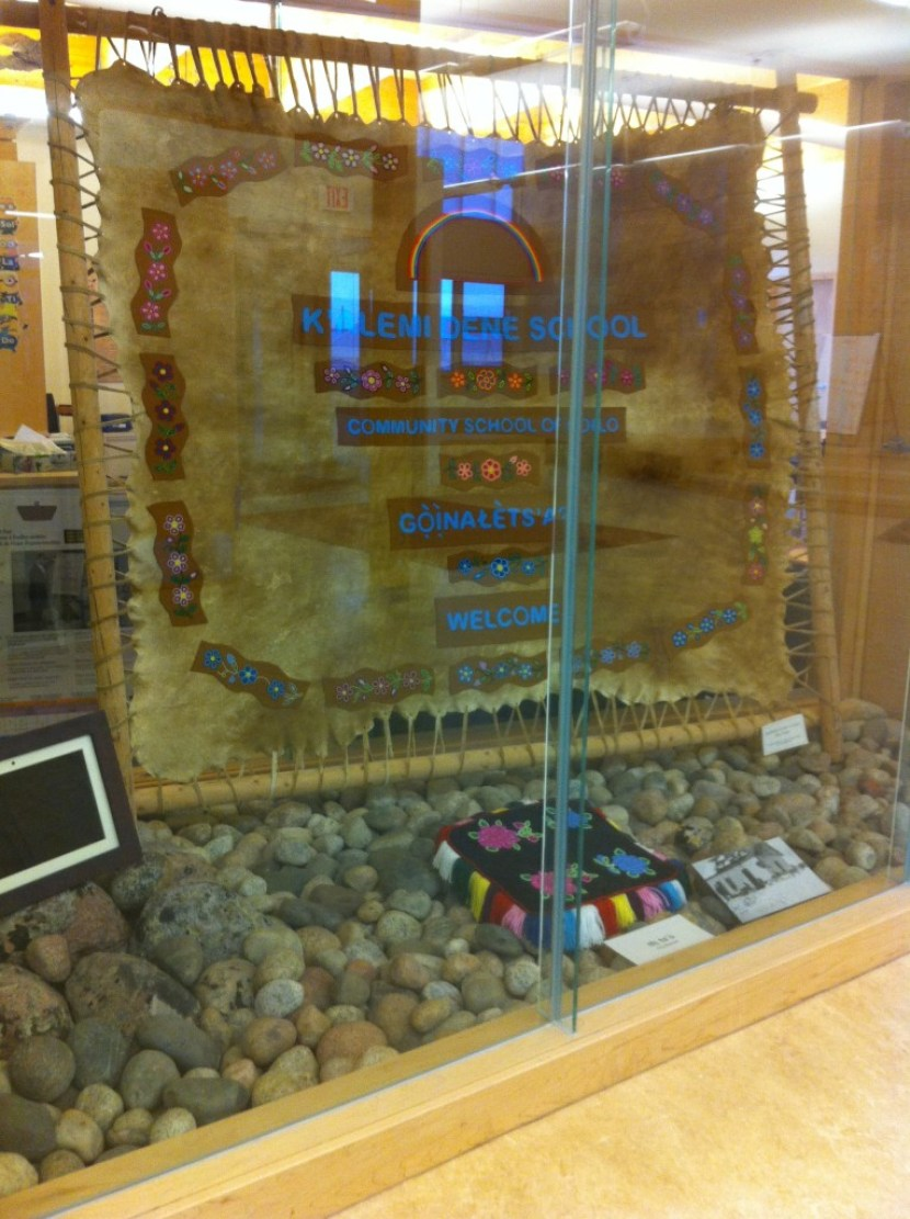 The main foyer display to welcome staff, students and visitors. All artefacts in the display are created by elders in the community and are connected to the traditions practiced in NDilo.