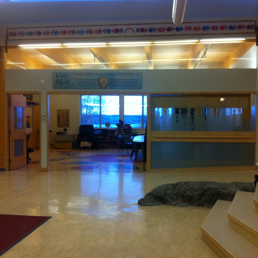 The main foyer. The first thing I noticed was the natural elements such as wood, natural light and bedrock inside the school.