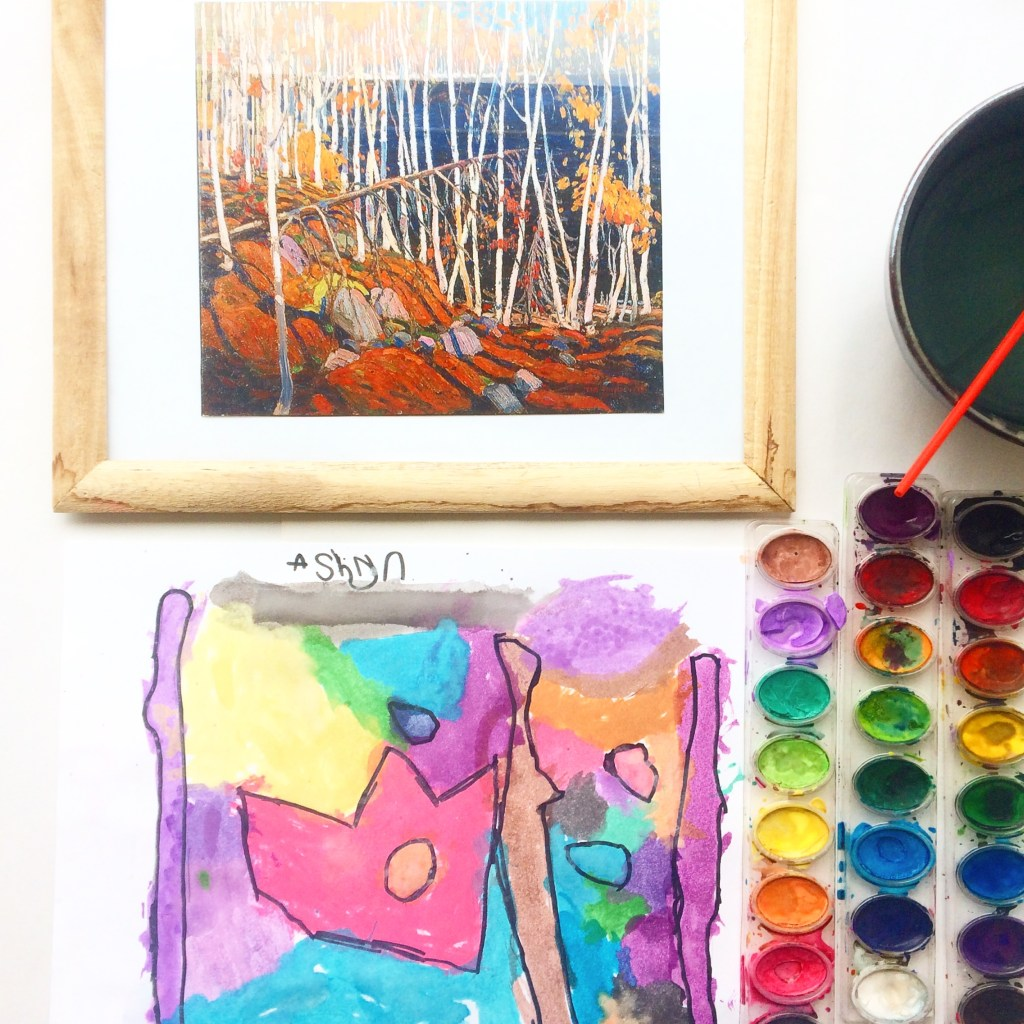 A.M. expressed her interest in the changing seasons by recreating a Group of Seven painting.  I wonder, what ways does she express her interest in seasons at home?
