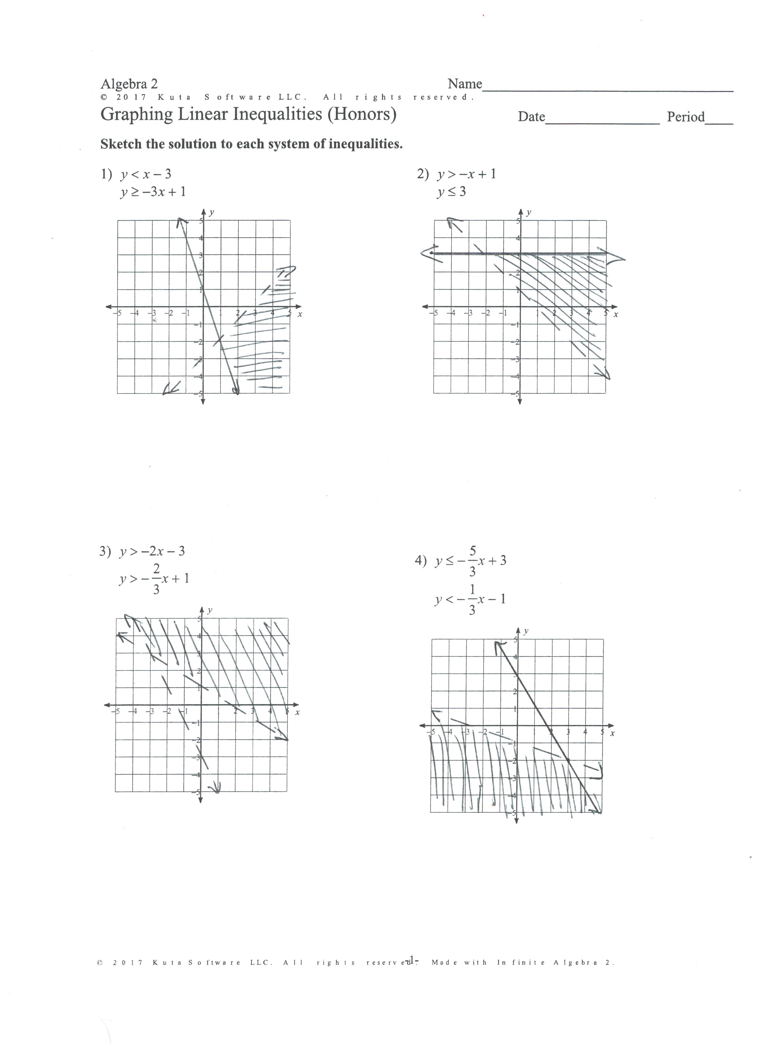 Kuta Worksheet Graphing Linear Inequalities