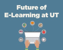 E-Learning at UT, graphic of computer