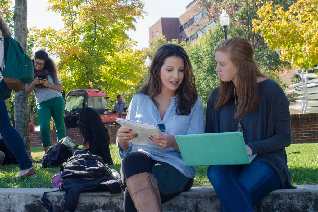 Female students outside on campus.