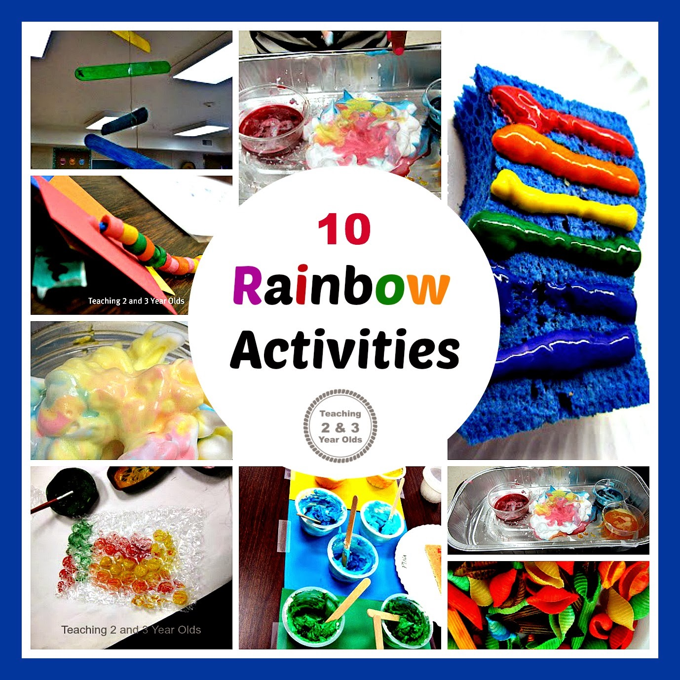 Preschool Rainbow Art Using Dyed Rope