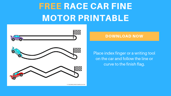 free preschool race car fine motor printable