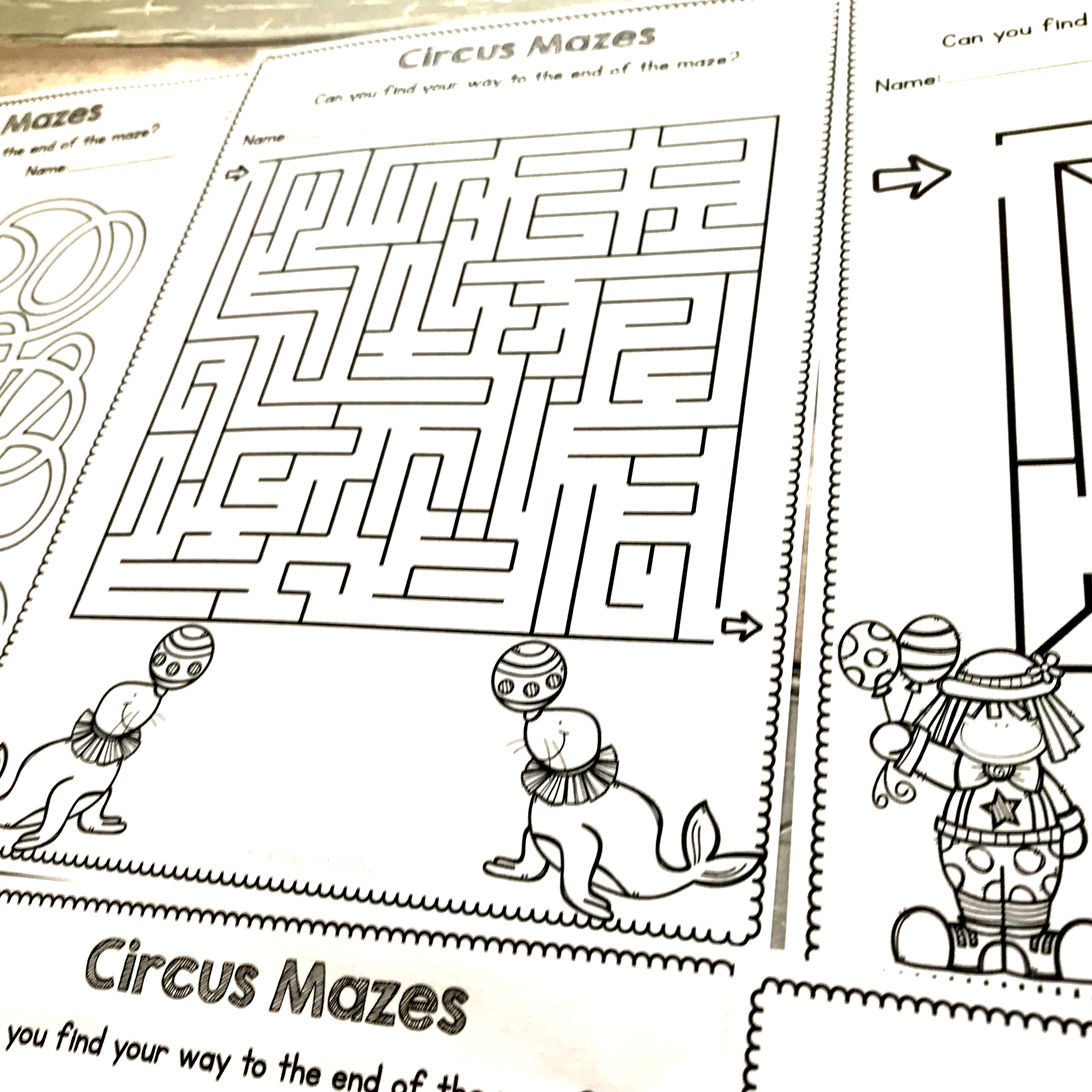 Circus Maze Worksheets No Prep Worksheets
