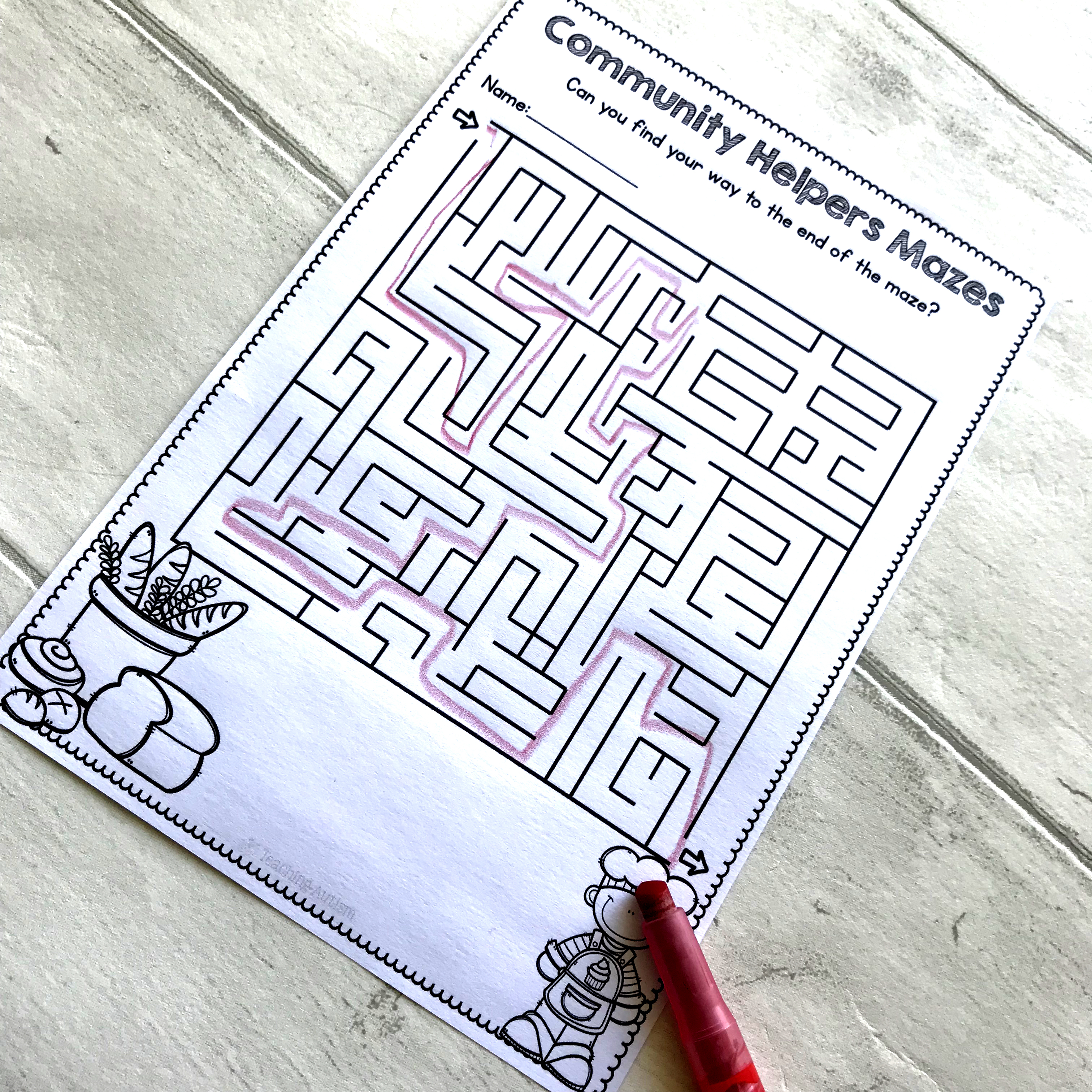 Community Helpers Maze Worksheets