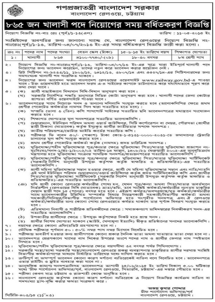 Bangladesh Railway Job Circular 2015