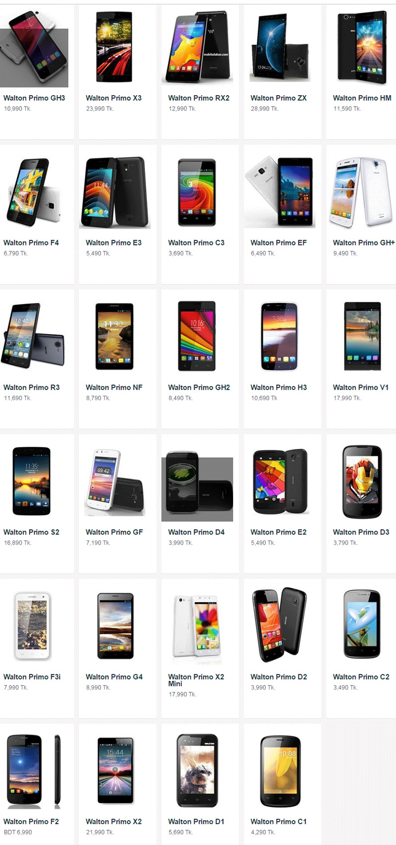 Walton Mobile Handset Updated Price List In Bangladesh