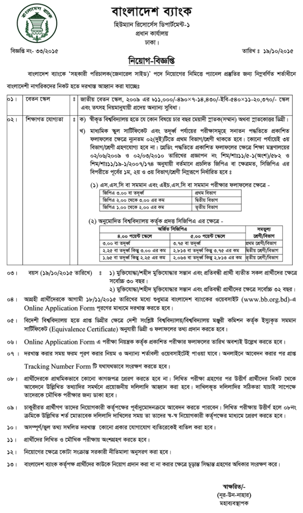 Assistant Director Job Circular Bangladesh Bank 2015