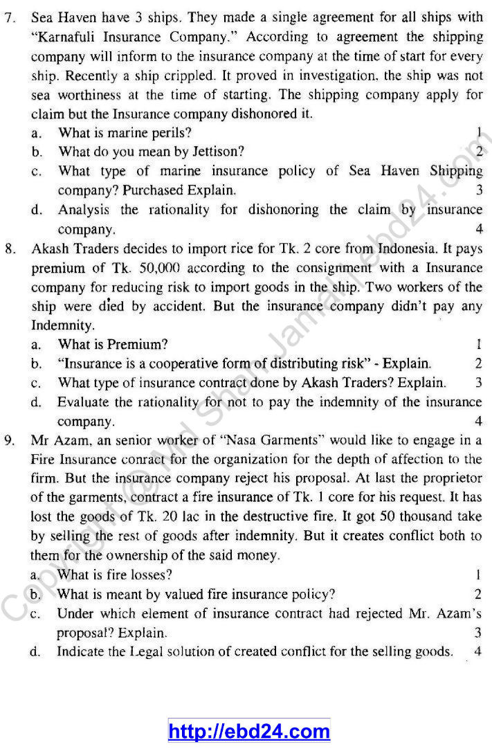 English version of Principles of Business and Practice Suggestion and Question Patterns of HSC Examination 2014 (3)