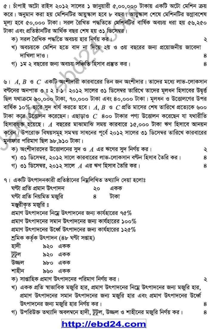 Accounting Suggestion and Question Patterns of HSC Examination 2014 (4)