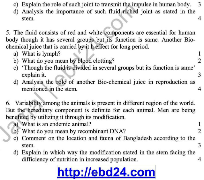 Biology English Version Suggestion and Question Patterns of HSC Examination 2014 (2)