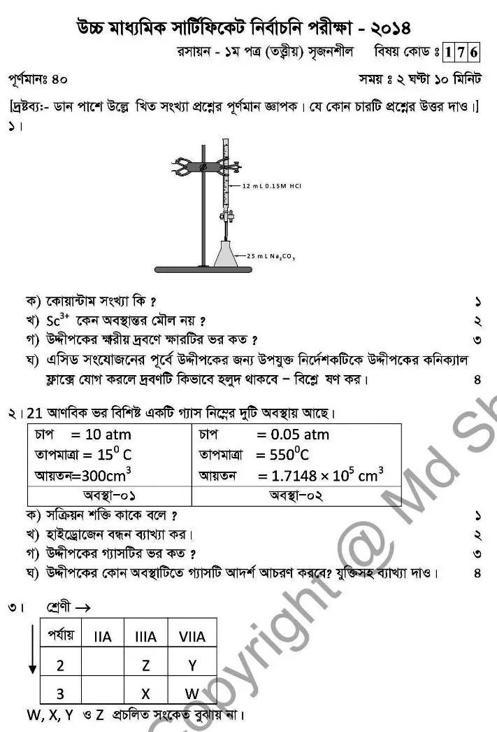 Chemistry- 1st HSC 2014 (1)