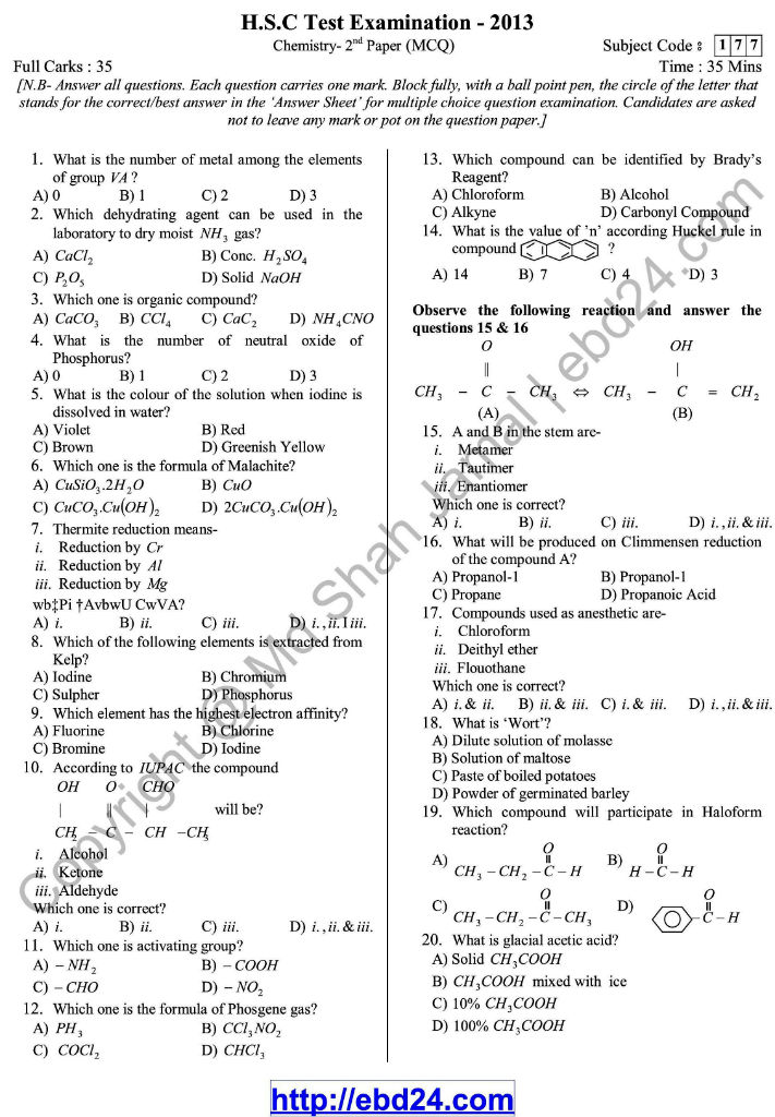 Chemistry- English Version-2nd Exam 2014 (3)
