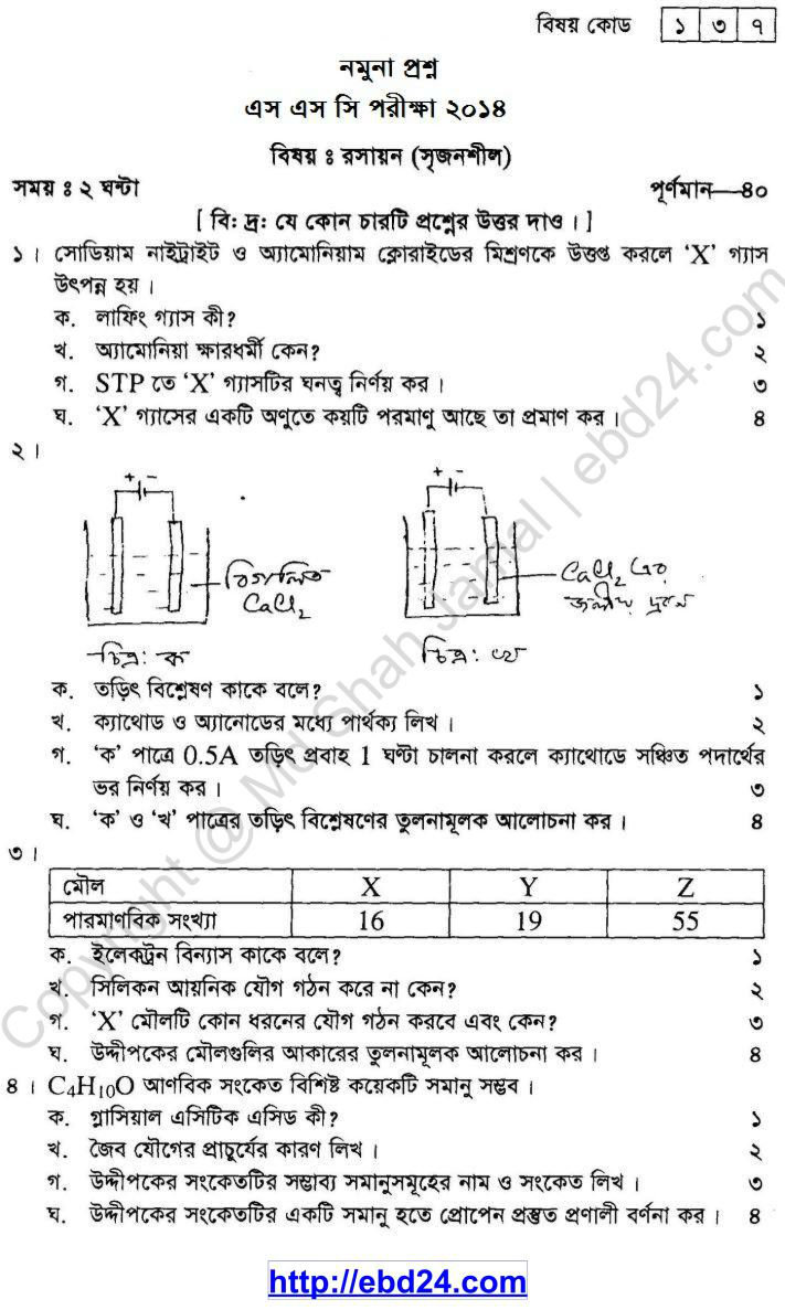 Chemistry Suggestion and Question Patterns of SSC Examination 2014 (1)