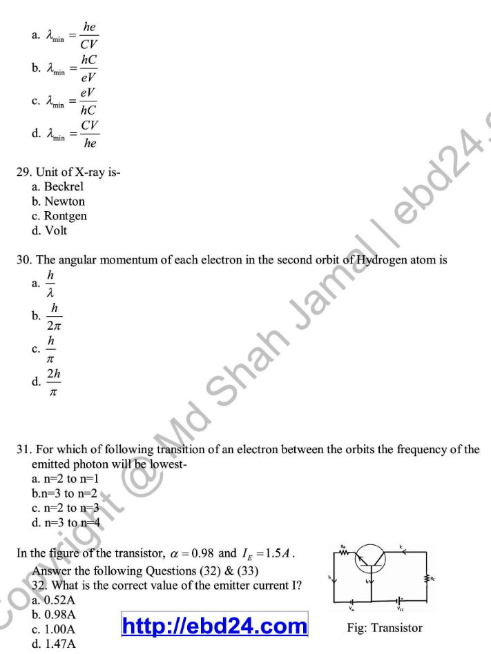 English Version Physics Suggestion and Question Patterns of HSC Examination 2014 (9)