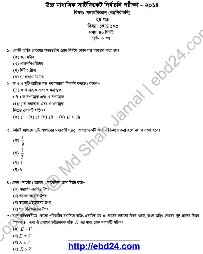 Physics Suggestion and Question Patterns of HSC Examination 2014 (4)