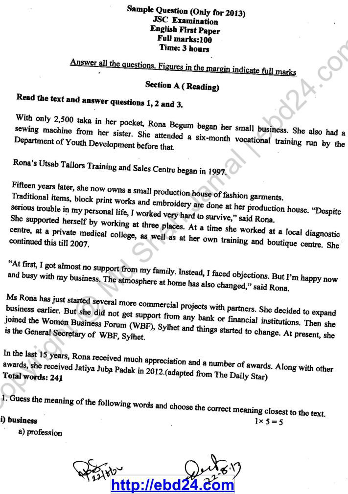 Sample Question of English First Paper for Jsc Examination 2013