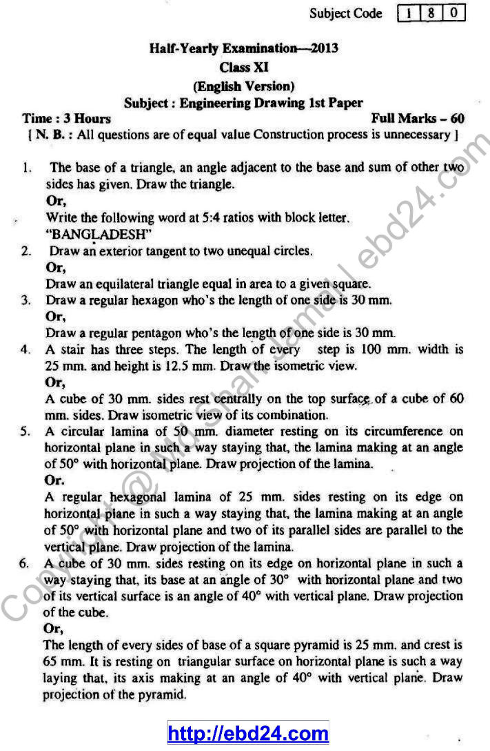 Eng. Version Engineering Drawing and Survey Suggestion and Question Patterns of HSC Examination 2015