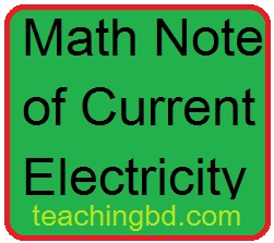 Math Note of Current Electricity