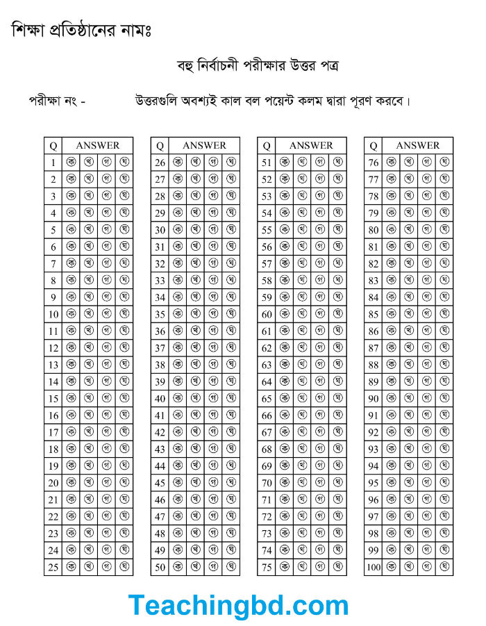 100 Question answer Sheet