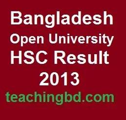Bangladesh Open University HSC Result 2013