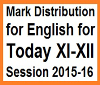 Mark Distribution for English for Today XI-XII Session 2015-16 18