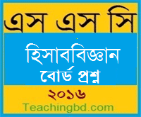 Accounting Board Question 2016 Barishal Board