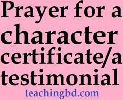 Prayerforacharactercertificateatestimonial