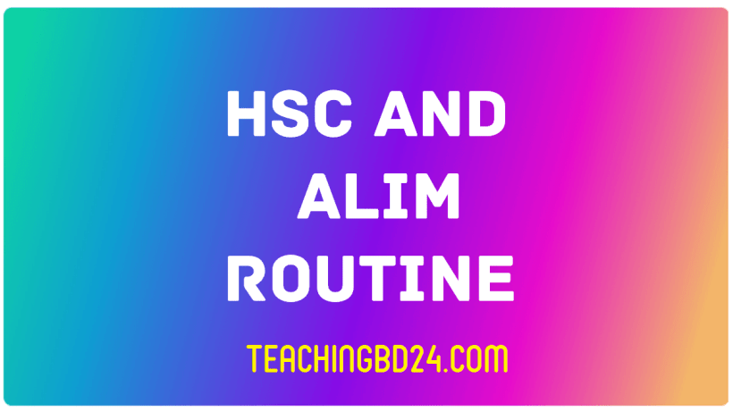 Changed HSC Alim Routine 2019 BD All Education Board 1