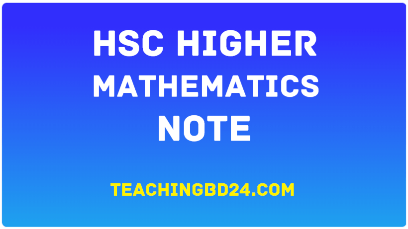 HSC Higher Mathematics 2nd Paper Note 9th Chapter Motion of Particles in a Plane 1