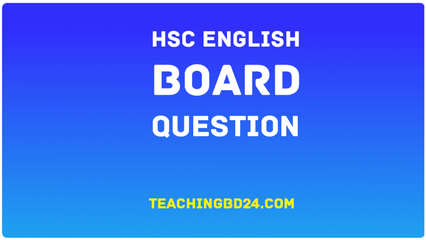 HSC All Board English 2nd Paper Board Question 2018