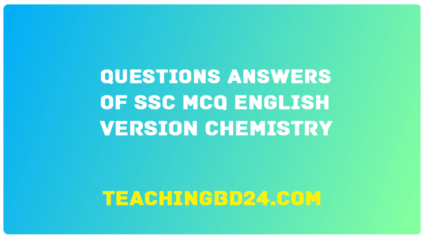 SSC EV Chemistry MCQ Question With Answer 2020