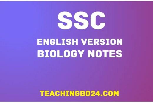 SSC EV Biology 14th Chapter Note 1