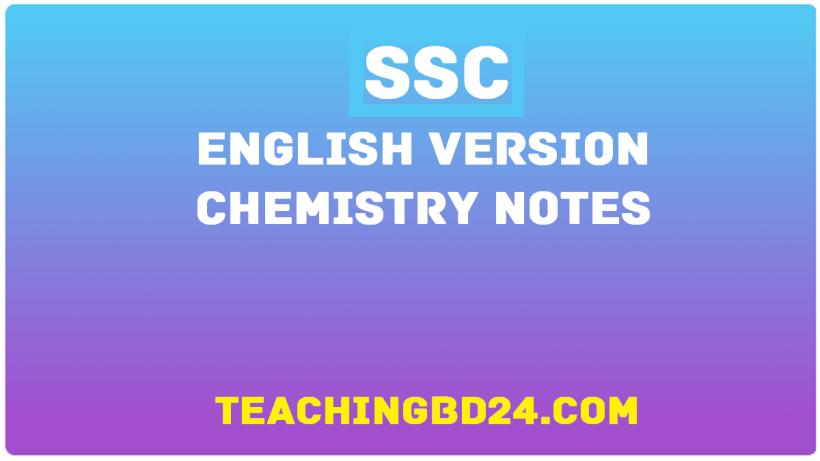 SSC English Version Chemistry Notes 1