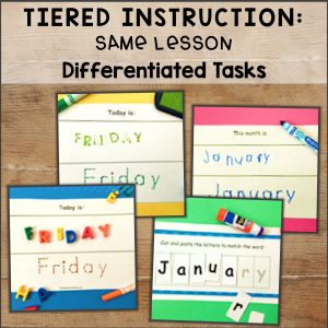 tiered instruction activity: same lesson, differentiated tasks