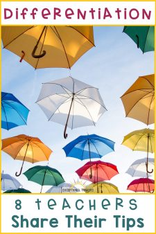 Colorful Umbrellas with caption: Differentiation. 8 Teachers Share their tips