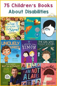 Various children's books with text that says 75 children's books about disabilities